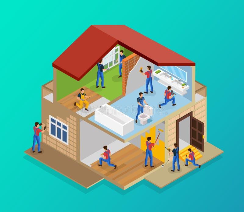 Molde isométrico da renovação da casa ilustração royalty free