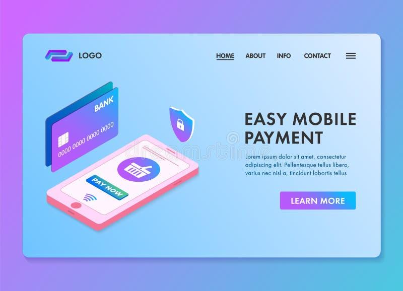 Molde isométrico da Web 3d do pagamento móvel fácil para a página ou a bandeira de aterrissagem E-pagamentos seguros, seguros e f ilustração do vetor