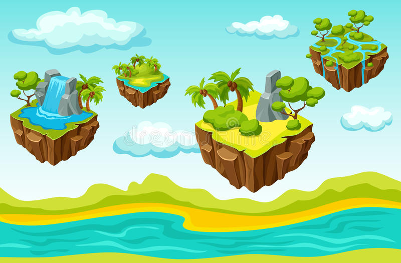 Molde isométrico de suspensão do nível do jogo das ilhas ilustração do vetor