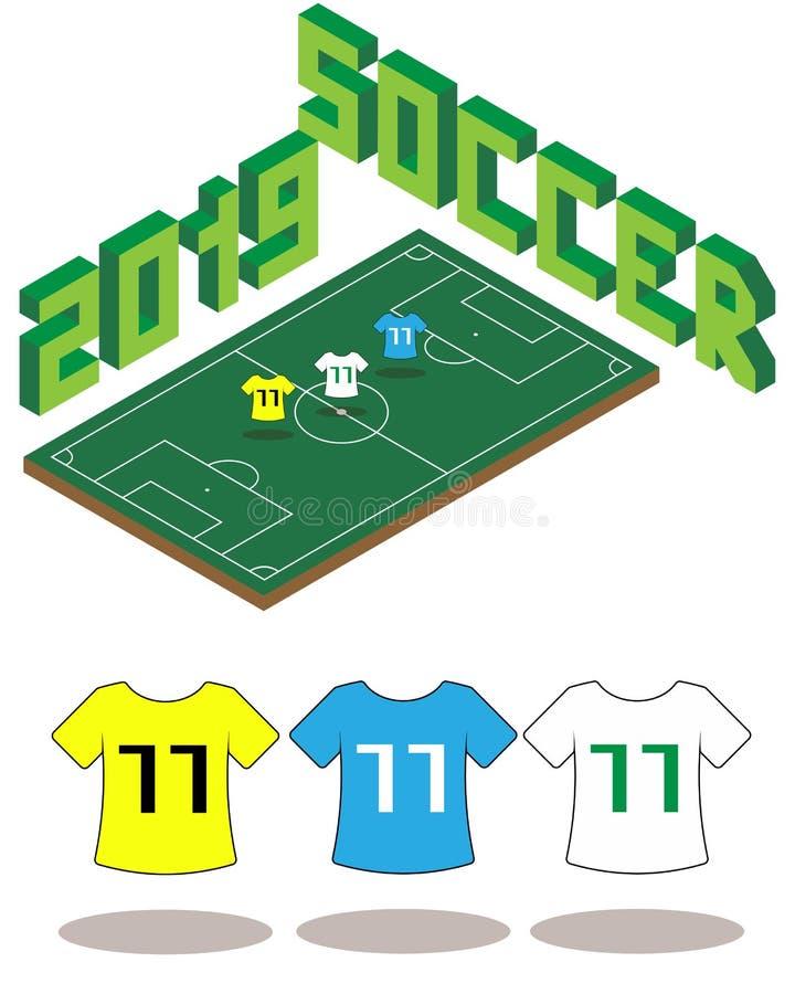 Molde isométrico 2019 do campo de futebol do futebol ilustração stock