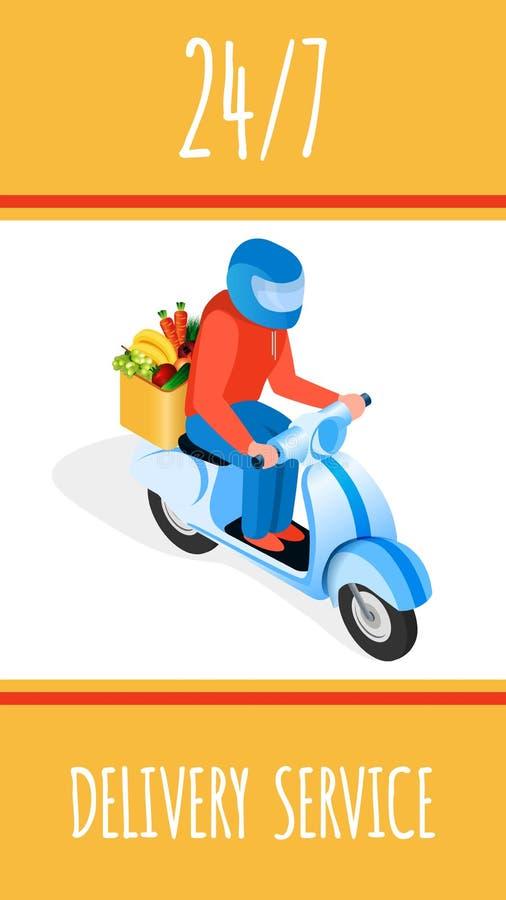 Molde isométrico do cartaz da entrega rápida do alimento ilustração stock