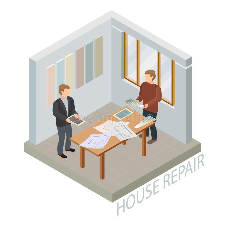 Molde isométrico do reparo home Desenhista e cliente Vetor ilustração do vetor