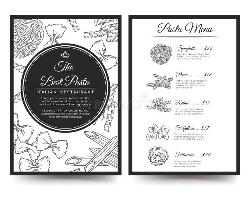 Molde italiano do menu do restaurante ilustração stock