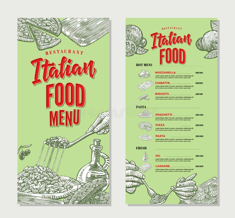 Molde italiano do menu do restaurante do alimento do vintage ilustração do vetor