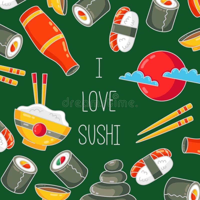 Molde japonês da bandeira dos ícones dos desenhos animados do alimento do sushi ilustração stock