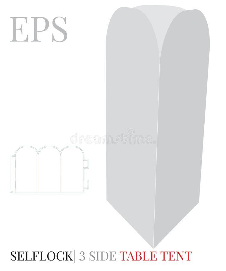 Molde lateral da barraca da tabela três, vetor com linhas cortado/do laser corte Branco, claro, placa, zombaria isolada da barrac ilustração do vetor