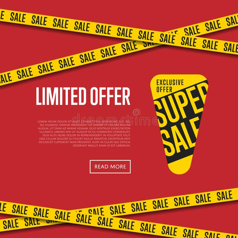 Molde limitado do Web site da oferta com texto ilustração do vetor