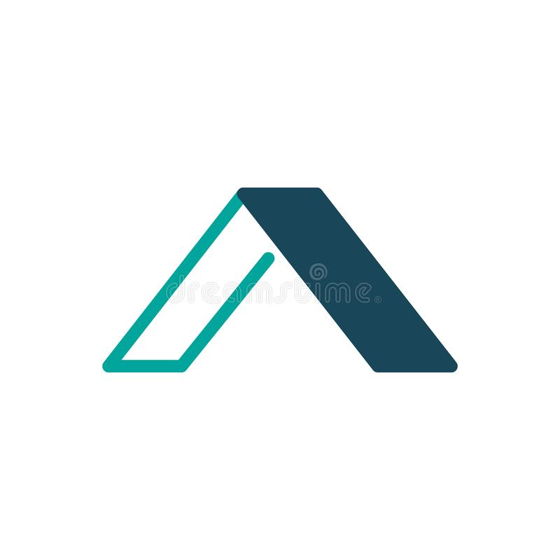 Molde linear e liso do logotipo elegante da letra inicial A do projeto, ilustração do vetor isolada no fundo branco ilustração royalty free