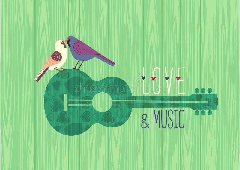 Molde liso do cartaz do vetor da cor do projeto da música do amor ilustração stock