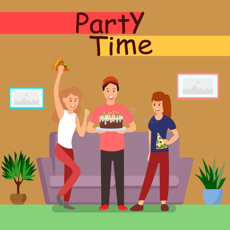 Molde liso do vetor do cartaz do tempo do partido dos amigos ilustração do vetor