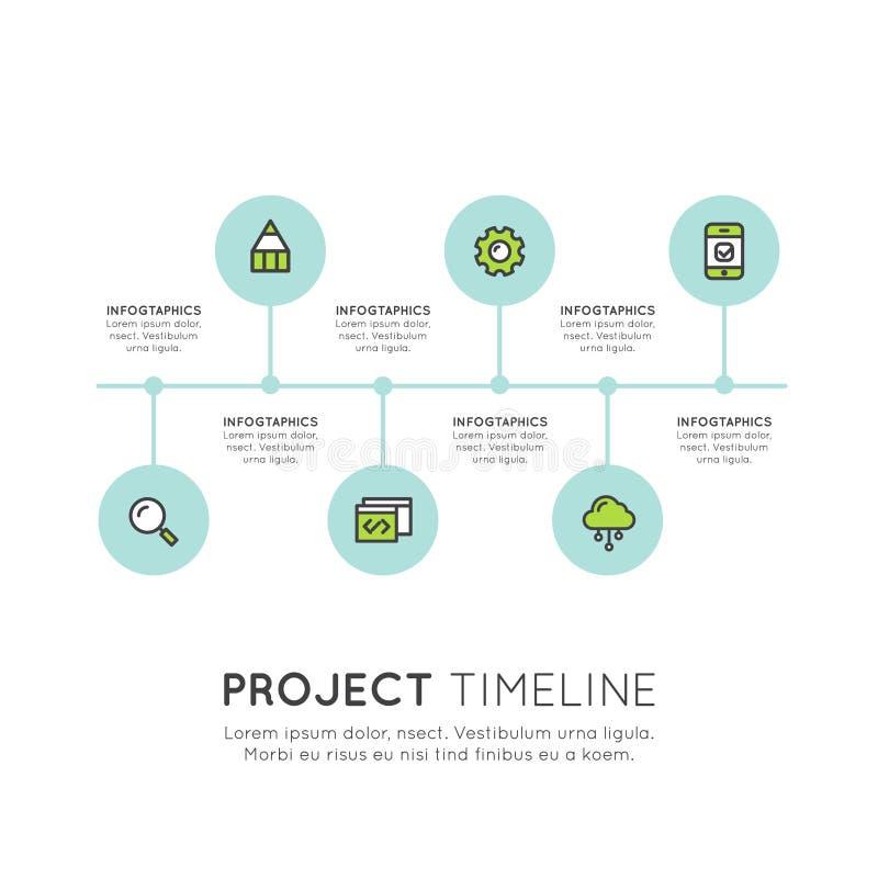 Molde liso dos elementos de Infographic do espaço temporal para a apresentação do processo de negócios dos trabalhos ilustração royalty free