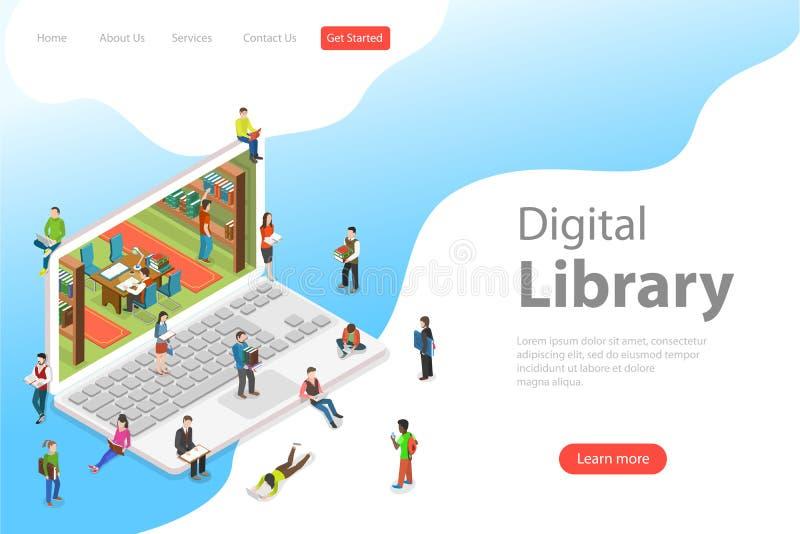 Molde liso isométrico da biblioteca em linha, educação da página da aterrissagem do vetor ilustração stock