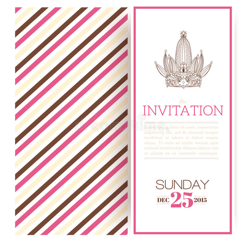 Molde listrado do convite da princesa ilustração stock