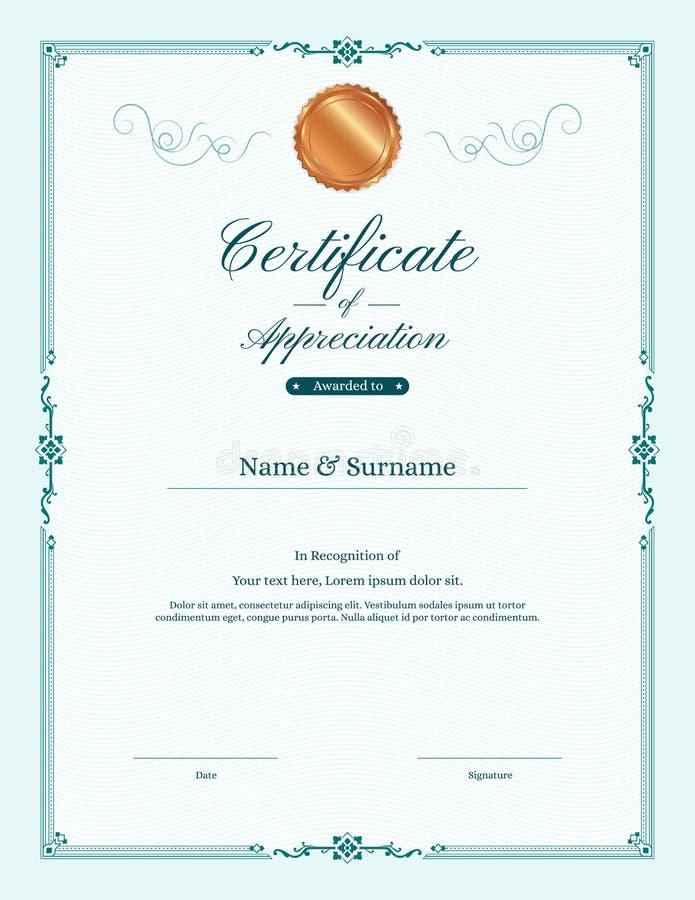 Molde luxuoso do certificado com quadro elegante da beira ilustração stock