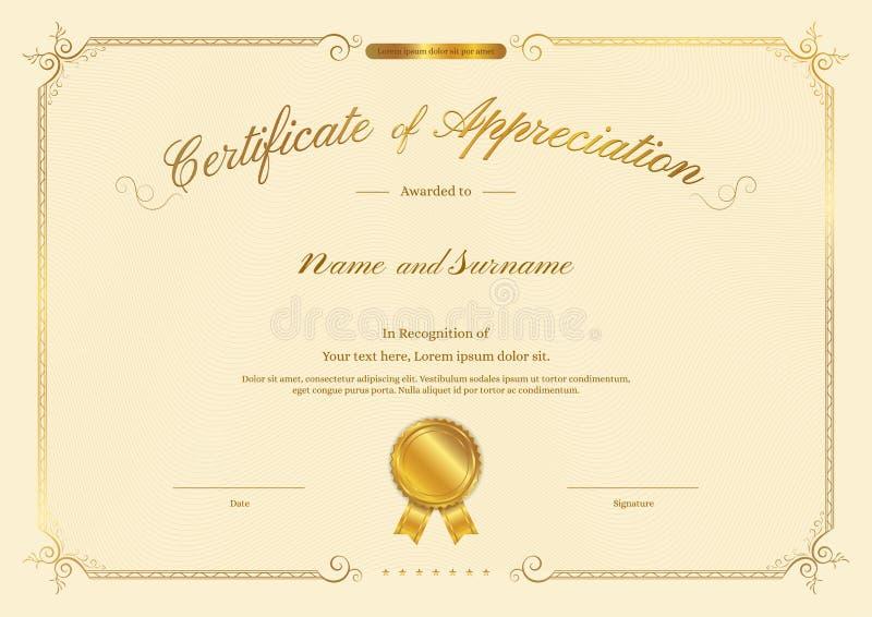 Molde luxuoso do certificado com quadro elegante da beira ilustração royalty free