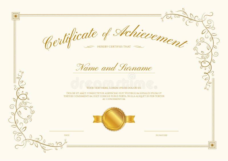 Molde luxuoso do certificado com quadro elegante da beira, diploma d ilustração do vetor
