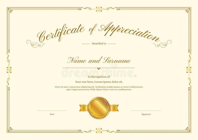 Molde luxuoso do certificado com quadro elegante da beira, projeto do diploma