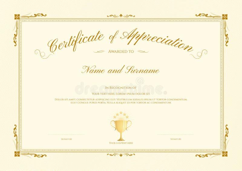 Molde luxuoso do certificado com quadro elegante da beira, projeto do diploma para a graduação ou conclusão ilustração royalty free