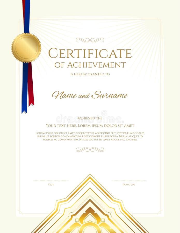 Molde luxuoso do certificado com quadro elegante da beira, projeto do diploma ilustração do vetor