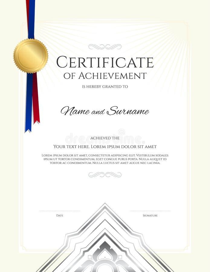 Molde luxuoso do certificado com quadro elegante da beira, projeto do diploma ilustração royalty free