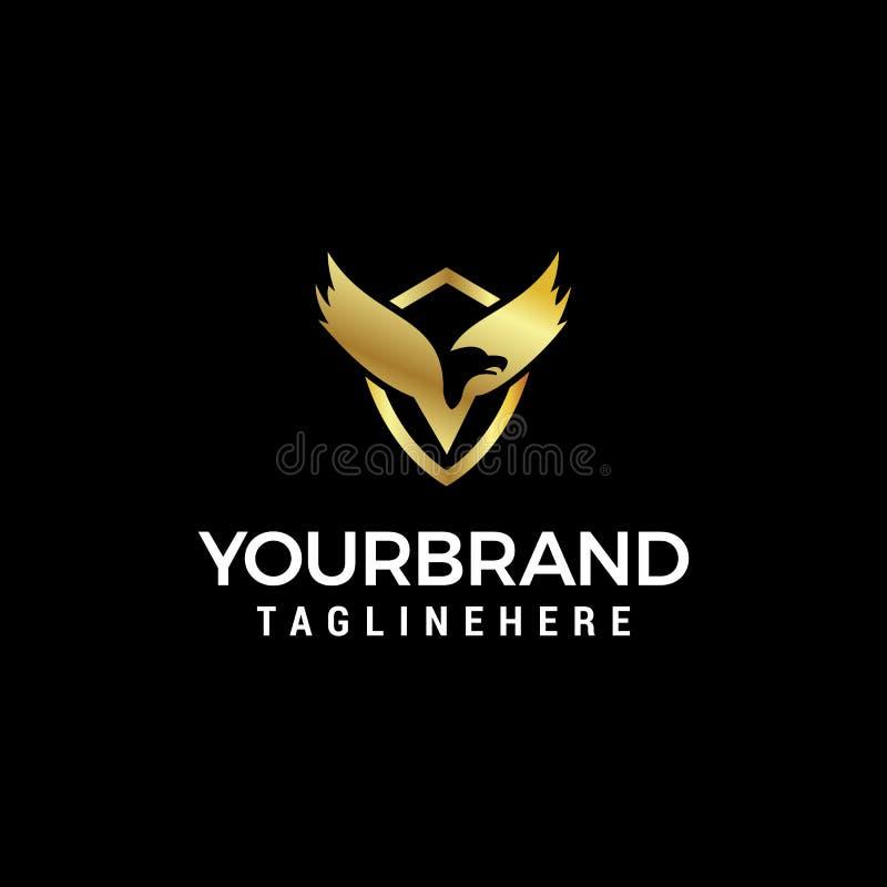 Molde luxuoso do conceito de projeto do logotipo da asa do pássaro ilustração do vetor