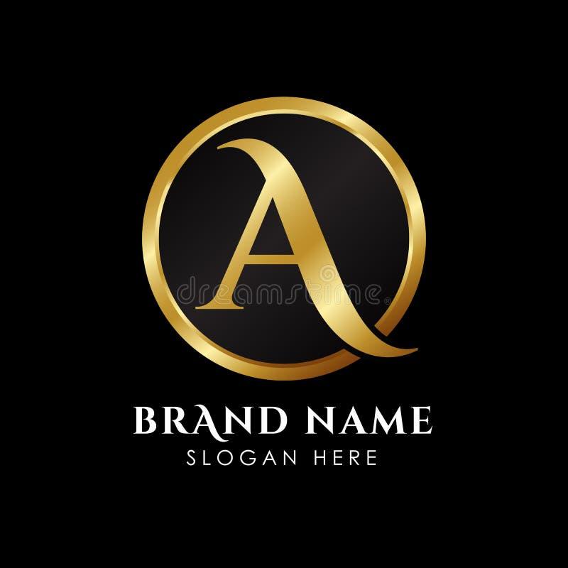 molde luxuoso do logotipo da letra A na cor do ouro Vetor superior real do molde do logotipo ilustração royalty free
