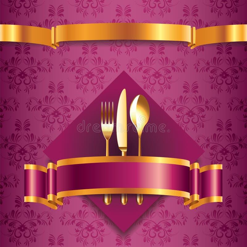 Molde luxuoso do menu com cutelaria dourada ilustração royalty free