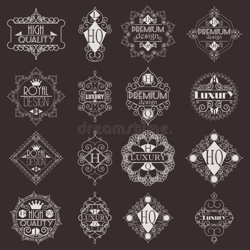 Molde luxuoso dos Logotypes das insígnias do projeto retro ilustração do vetor
