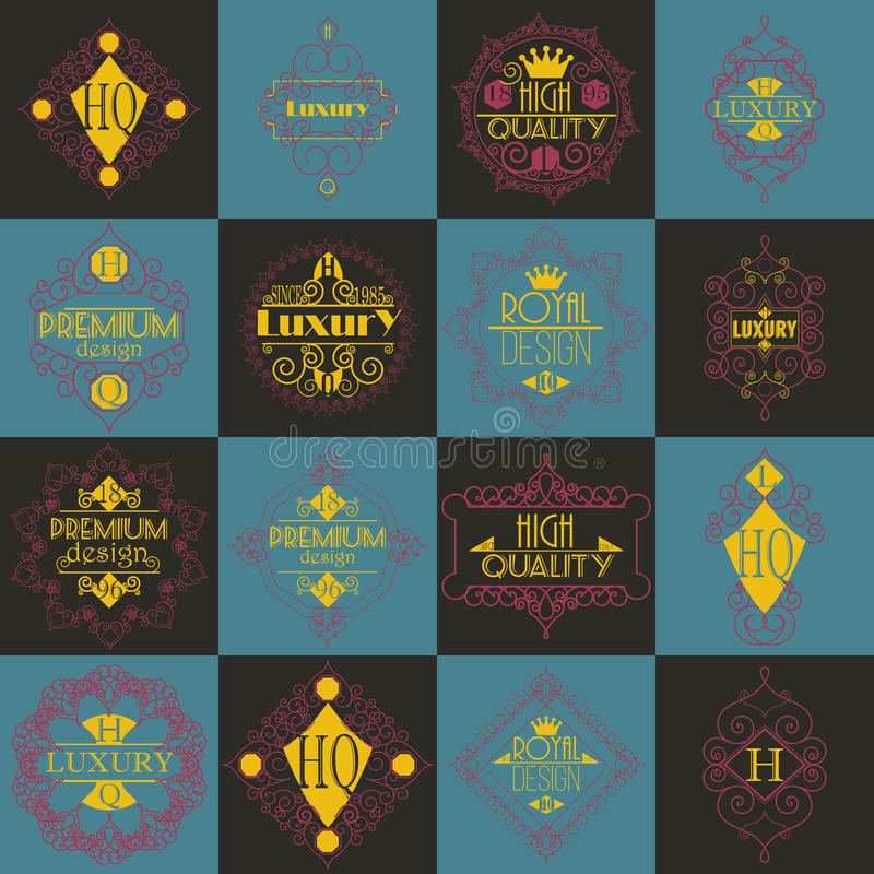 Molde luxuoso dos Logotypes das insígnias do projeto retro ilustração stock