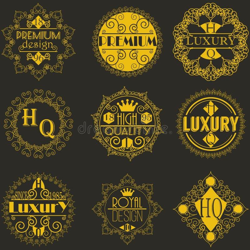 Molde luxuoso dos Logotypes das insígnias do projeto retro ilustração royalty free