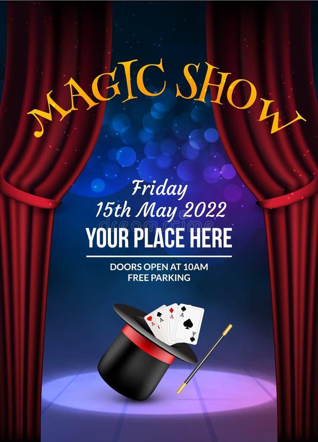 Molde mágico do projeto do cartaz da mostra Fundo mágico do vetor da ilusão Inseto do mágico do teatro com hat-trick ilustração stock