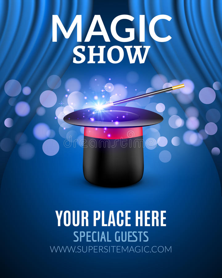 Molde mágico do projeto do cartaz da mostra Projeto mágico do inseto da mostra com chapéu e as cortinas mágicos ilustração do vetor