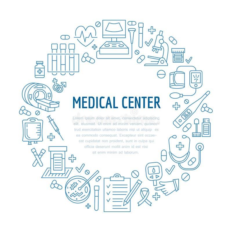 Molde médico do cartaz Vector a linha ícone, ilustração do centro, exame médico completo acima mri do equipamento, cardiogr ilustração do vetor