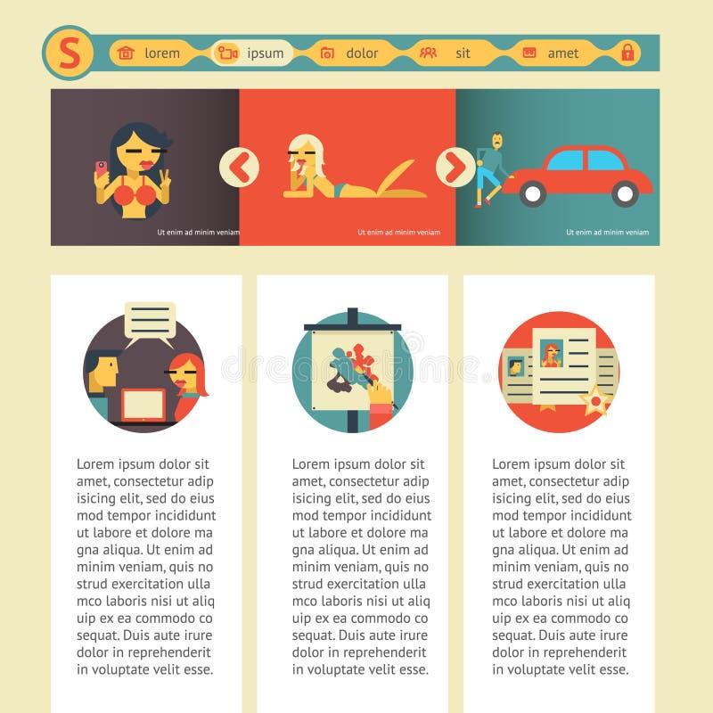 Molde móvel da site lisa do projeto com ilustração social do vetor dos ícones dos meios ilustração royalty free