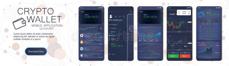 Molde móvel do app da carteira cripto ilustração do vetor