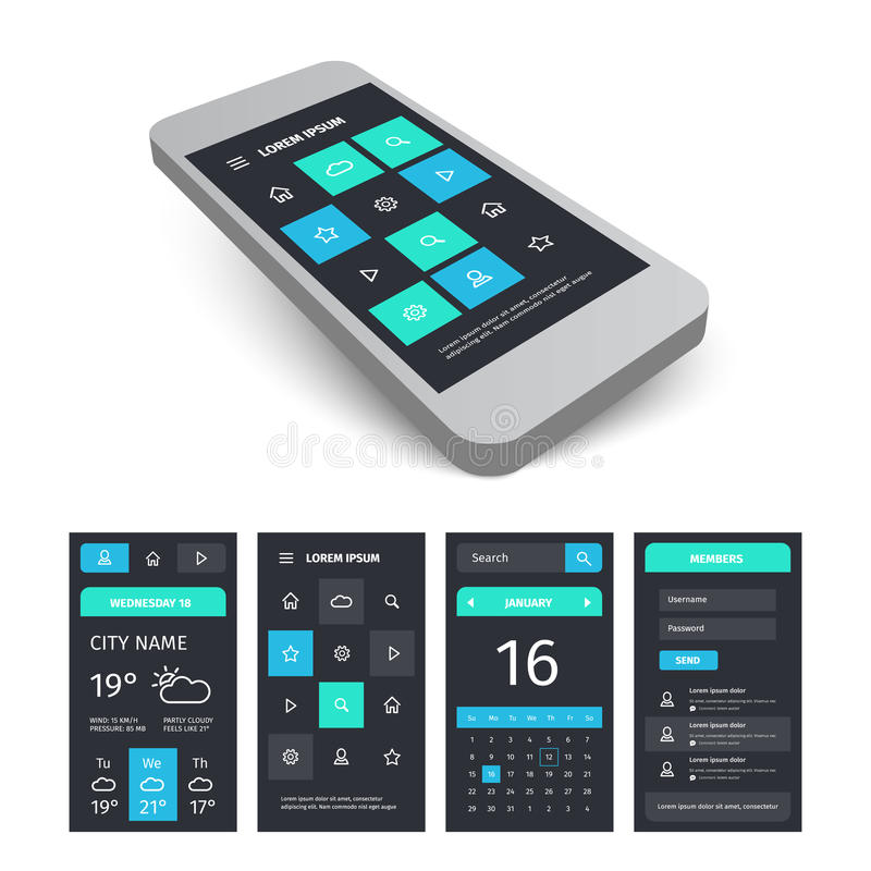 Molde móvel do jogo do app da interface de utilizador do vetor com ilustração royalty free