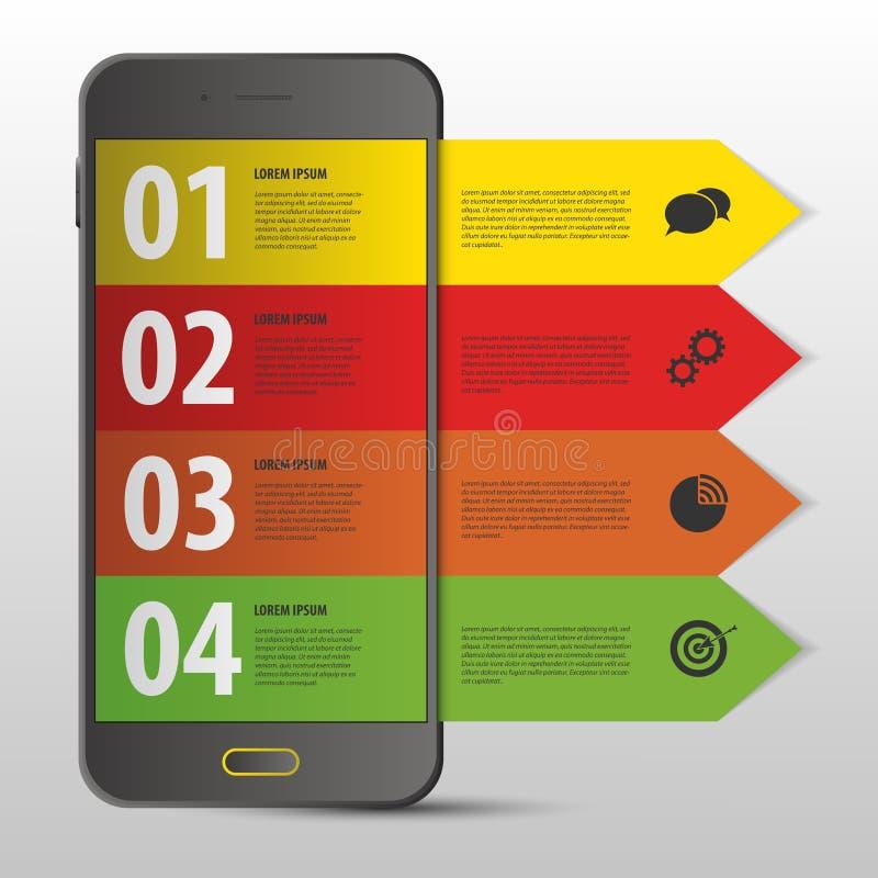 Molde móvel do projeto de Infographic Bandeira moderna web Vetor ilustração royalty free