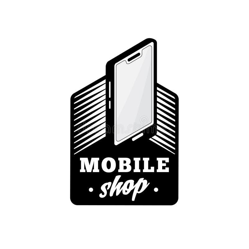Molde móvel do projeto do logotipo da loja Vetor e ilustra??o do telefone celular ilustração royalty free