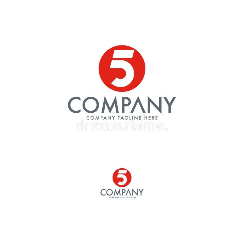 Molde minimalista do projeto do logotipo da letra 5 ilustração stock