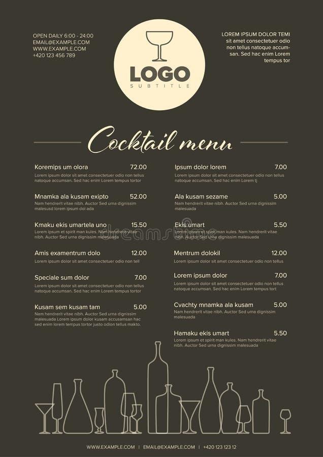 Molde minimalistic moderno do menu do cocktail ilustração do vetor