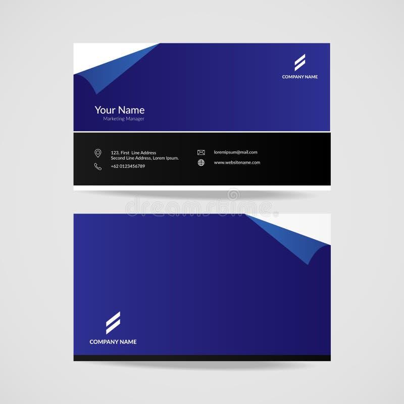 Molde moderno azul preto do cartão, ilustração elegante do vetor do projeto de cartão do nome ilustração stock