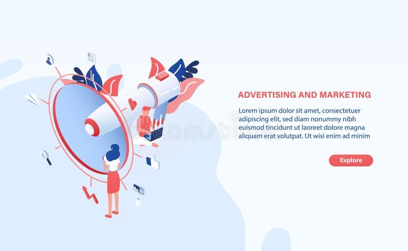 Molde moderno da bandeira da Web com megafone ou megafone gigante, povos ou trabalhadores e lugar de escritório minúsculos para o ilustração royalty free