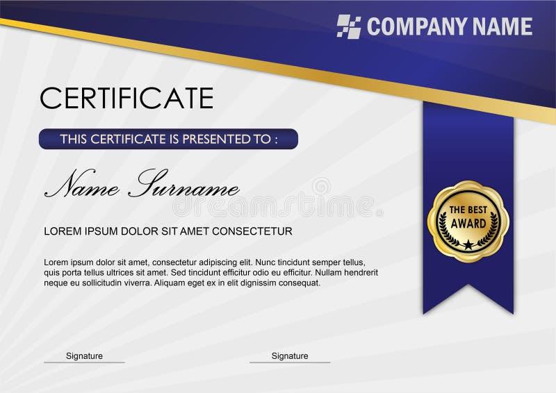 Molde moderno da concessão do certificado/diploma, obscuridade azul ilustração royalty free