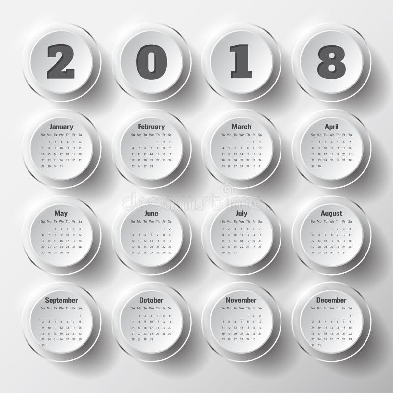 Molde moderno do calendário 2018 vetor/ilustração fotografia de stock