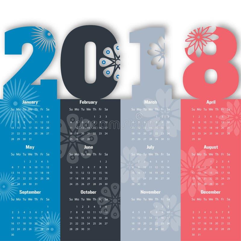 Molde moderno do calendário 2018 vetor/ilustração fotografia de stock royalty free
