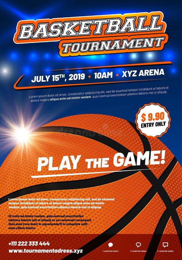 Molde moderno do cartaz do basquetebol com texto da amostra ilustração stock