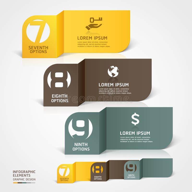 Molde moderno do número do infographics do corte do papel. ilustração do vetor
