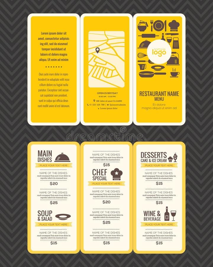 Molde moderno do panfleto do projeto do menu do restaurante ilustração do vetor