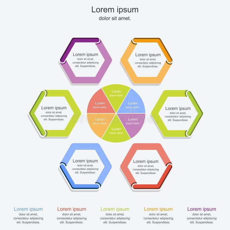 Molde moderno do processo do infographics, conceito infographic, ilustração do negócio do vetor ilustração do vetor