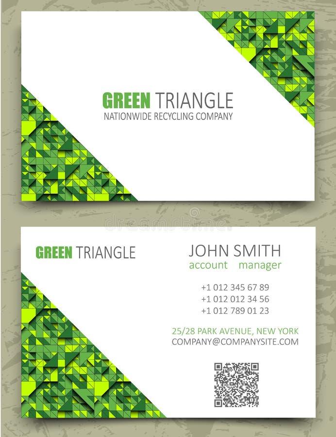 Molde moderno do projeto de cartão dos triângulos verdes Espaço diagonal branco no fundo do teste padrão Textura geométrica do vo ilustração stock